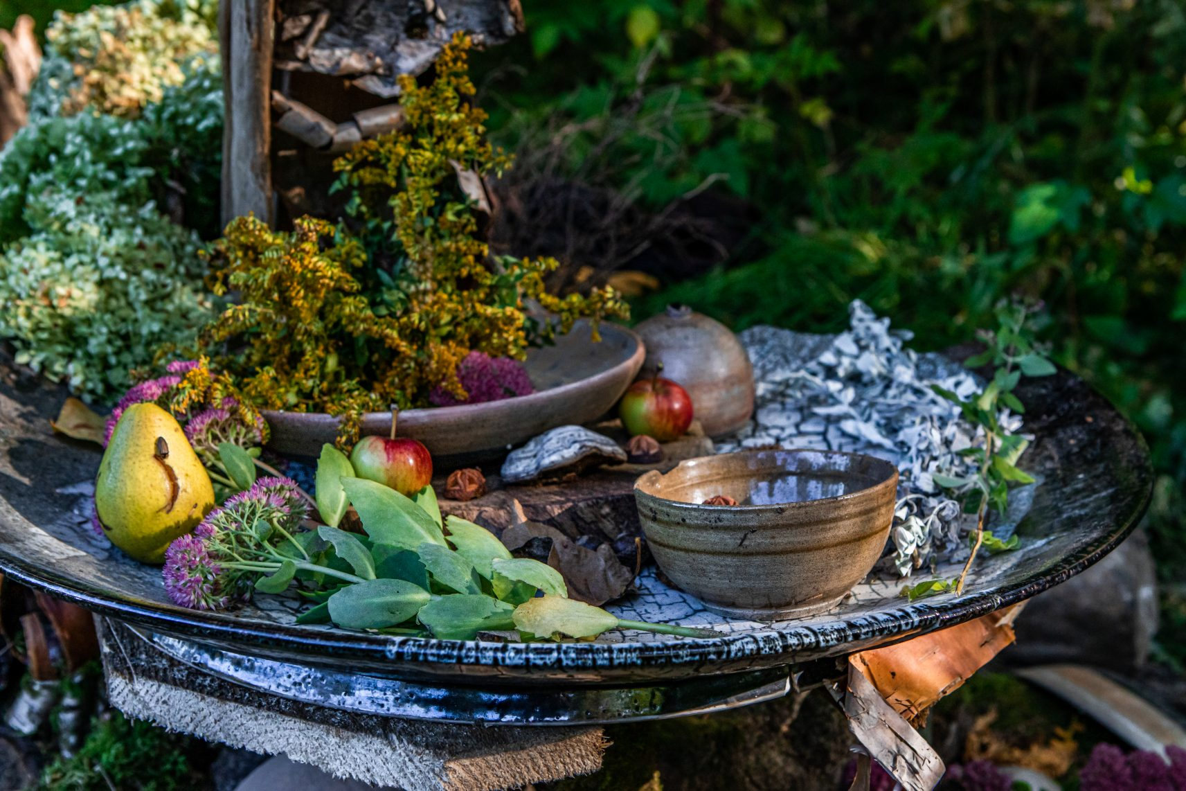 A close up shot with shallow depth of field of natural offerings on a ceramic plate in nature. Foraged fruit, flora, herbs, during earth festival
